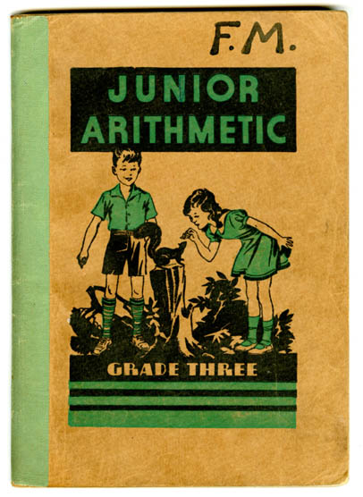 Junior Arithmetic for Grade Three book cover with a drawn image of a boy and girl in nature